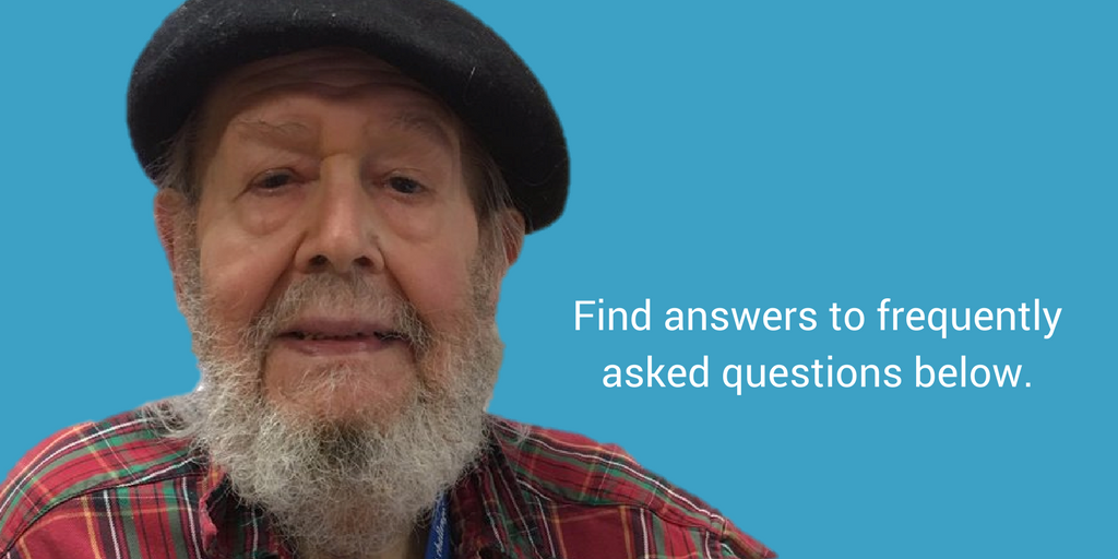 """Elder smiling with text that says, """"Find answers to frequently asked questions below."""""""