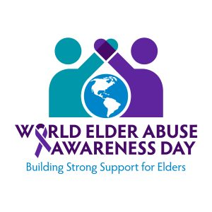 "World Elder Abuse Awareness Day 2017 logo saying, ""Building Strong Supports for Elders"""