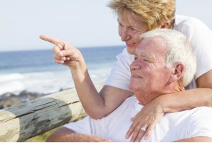 An older couple at the beach.